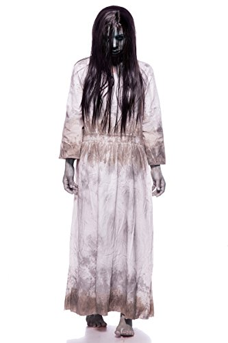 Samara Horror Film Kostüm Damen Ring TV Set Grau Kleid Perücke