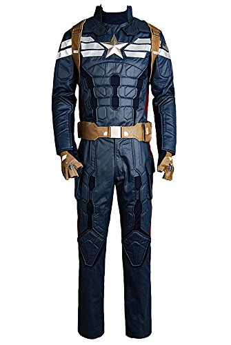 Marvel Captain America 2 The Winter Soldier Steve Rogers Uniform Outfit Cosplay Kostuem