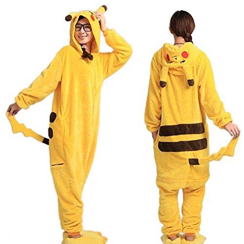 Pikachu Damen oder Herren Kostüm Overall Pyjama Karneval